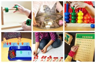 Children working with dowels and rings, sorting 3 objects, pegs and numbered board, and a division board.