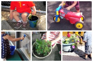 Children pulling weeds, cleaning toys and windows, planting, and watering flowers.