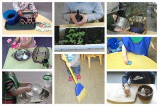 Children working with plants, arranging flowers, washing dishes and a table, sweeping, and polishing wood.