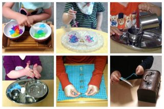 Children scooping, tonging, pouring, whisking, using a button dressing frame, and sewing.