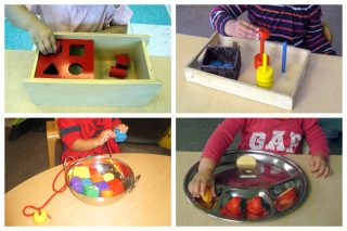 Children using a shape sorter, 3 dowels with rings, lacing beads, and sorting 3 objects