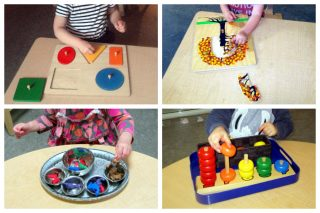 Children working on puzzles, sorting 4 objects, and 5 dowels with rings.