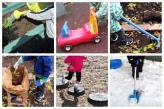 Children watering plants, scootering, raking, using a brush and dust pan, using stepping stones, and shoveling.