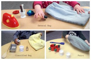 Children working with general, classified, and pairs stereognostic bags